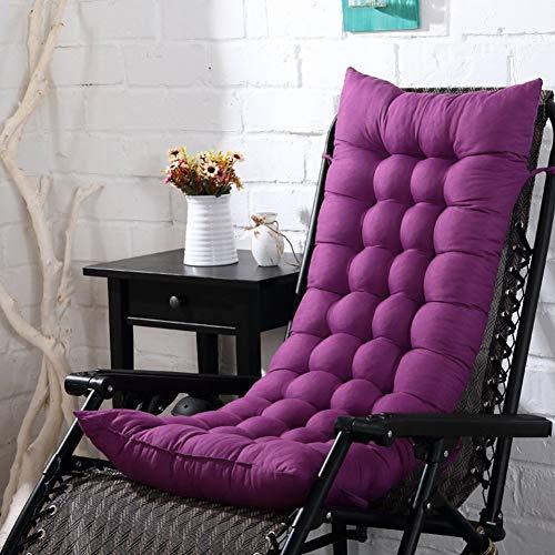 Cojín de tumbona, grueso Patio Tumbona de jardín Reclinable Cojines de salón Cojín, mecedora Cojín de interior para sentarse al aire libre (sin silla) Un púrpura 48x110cm (19x43 pulgadas) Accesorios p