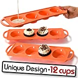 Moty, 12 Cup - Silicone Muffin Pan, Sturdy Handle, Cupcake Baking/Non - Stick Silicone Mold/Dishwasher - Microwave Safe