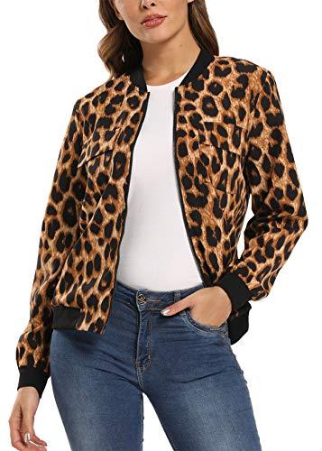 MISS MOLY Chaqueta Mujer Bomber Manga Larga con Cremallera de Moda Estampado de Leopardo Small