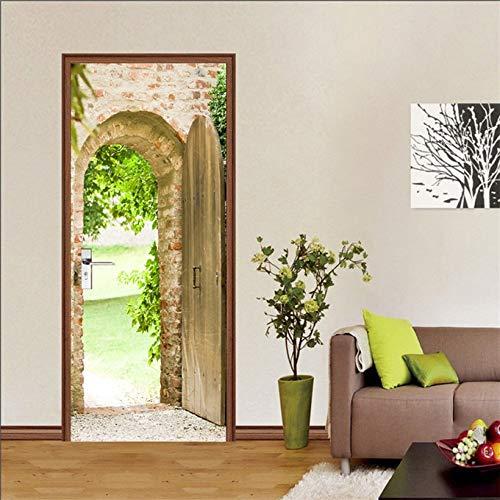 DFKJ Etiqueta engomada Visual de la Puerta 3D Papel Tapiz de decoración del hogar Impermeable Autoadhesivo póster decoración calcomanía Cabina telefónica Mural A9 77x200cm