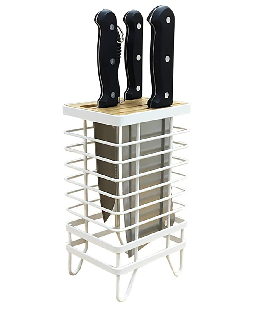 Kitchen Knife Block, Universal 8 Knife Block without Knives, Vertical Heavy Metal Square Knife Storage Holder Organizer for Countertop, Cabinet, Corner   Suit for Most of the Standard Knives - White