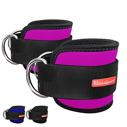 RHINOSPORT Fußschlaufen 2 stücke Fußriemen D-Ring Fußmanschetten für Fitness Training am Kabelzug - Ankle Straps für Frauen und Männer Fitness Zubehör (Pink)