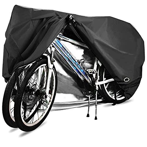 ODSPTER Fahrradabdeckung für 2 fahrräder wasserdichte 210D Oxford-Gewebe Atmungsaktives Draussen Fahrrad Schutzhülle mit Schlossösen Schutz, für Mountainbike und Rennrad 29 Zoll (Schwarz)