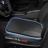Custom Car Seat Cushion for BMW 3 Series, SUP SUC SUG Double Sided Car Seat Cushion, Bonded Leather/Ice Silk Seat Cushion with Comfort Memory Foam (Black-1PCS)