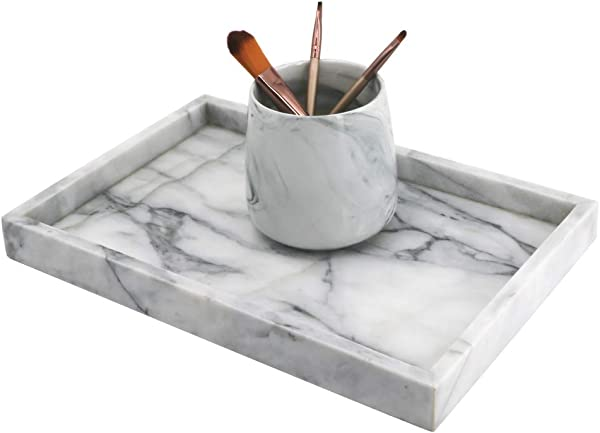 LUANT Marble Stone Decorative Tray For Counter Vanity Dresser Nightstand Or Desk