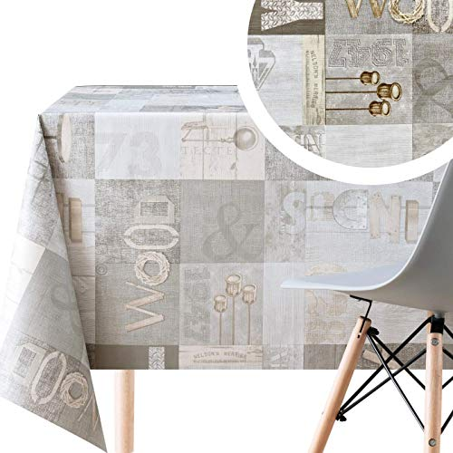 KP HOME - Mantel de plástico con impresión de madera industrial, color gris, rectangular, 250 x 140 cm, diseño moderno de madera