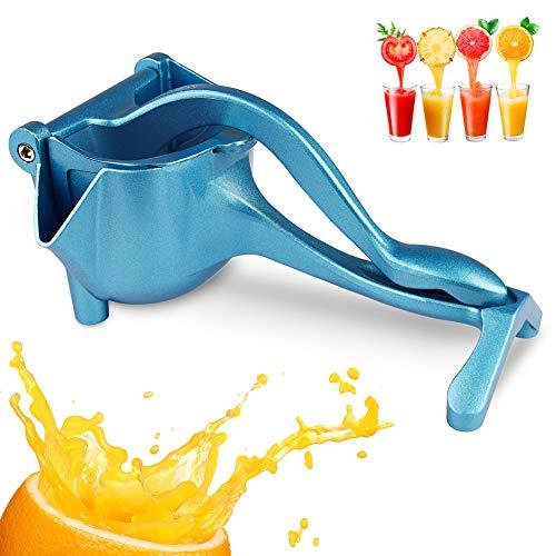 Exprimidor manual de cítricos, exprimidor de limón, exprimidor de zumo de aleación de aluminio para limón naranja lima manzana fruta (azul)