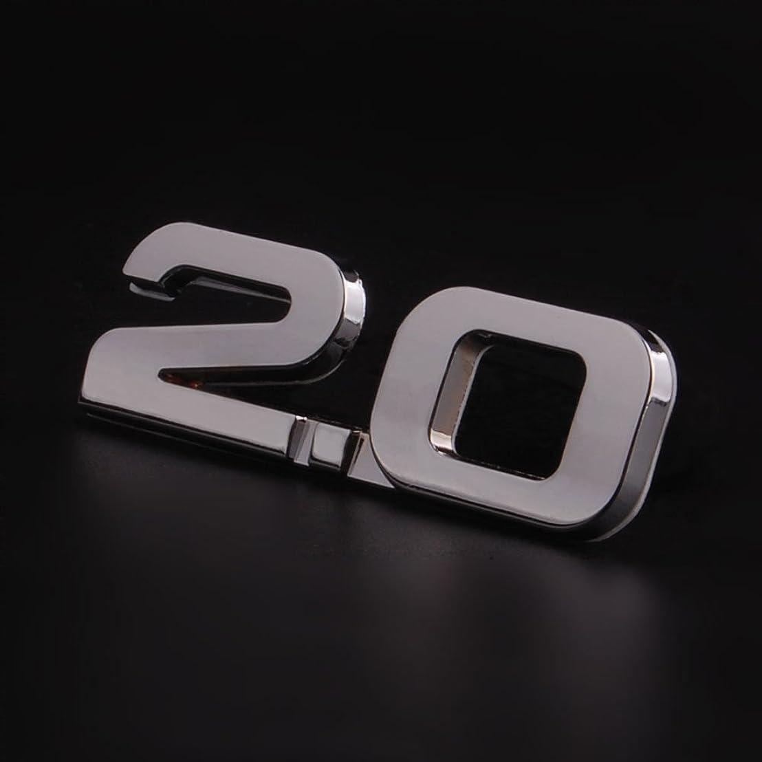 Jicorzo - 3D Car Auto Metal Silver 2.0 2.0T 2.0TSI Rear Trunk Decal Emblem Badge Styling Sticker