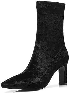 BalaMasa Womens Structured High-Heel Solid Urethane Boots ABM12819