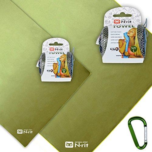 N-RIT Super Light Towel Set, Ultra leichtes Microfaser Handtuch & Badetuch, antibakteriell, schnelltrocknend + Tasche + Karabiner (Olive)