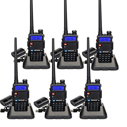 Retevis RT-5R Dual Band Handheld Radios Long Range, VHF UHF Two-Way Radio, Heavy Duty 128CH 2 Way Radio Walkie Talkies with Flashlight 1400mAh Battery (6 Pack)
