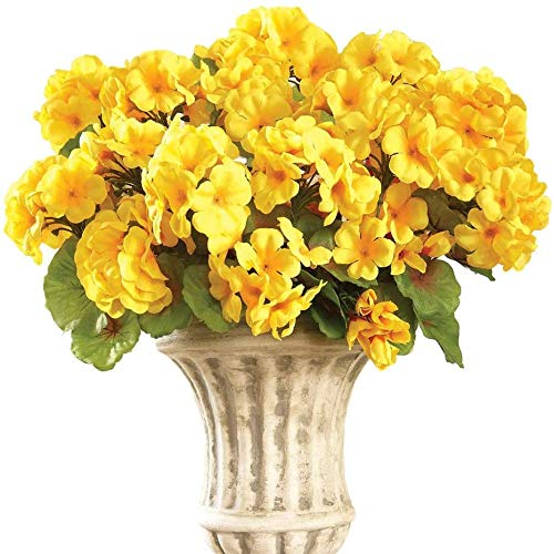 yueyue947 / Arbusto Floral de Geranio Artificial, Juego de 3 - Flores Artificiales sin Mantenimiento para la exhibición Interior o Exterior, Use 3 Ramos por Separado o Combine los 3, Amarillo