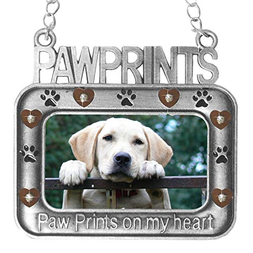BANBERRY DESIGNS Paw Prints on My Heart - Pet Memorial Christmas Photo Ornament - Small Hanging Keepsake Frame for Loss of Dog or Cat