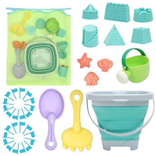 RACPNEL Beach Toys Sand Toys Set for Kids, Collapsible Sand Bucket and Shovels Set with Mesh Bag, Sand Molds, Watering Can, Flags, Sandbox Toys for Kids and Toddlers, Travel Sand Toys for Beach