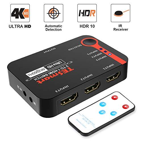 TESmart 3x1 HDMI Switch 3 in 1 Out unterstützt 4K@60Hz, Ultra HD, 1080P, 3D mit IR-Fernbedienung Kompatibel mit Xbox, PS3/4, Switch, Wii, Blu-ray-Player, Set-Top-Boxen, Fire Stick usw.-Mattschwarz