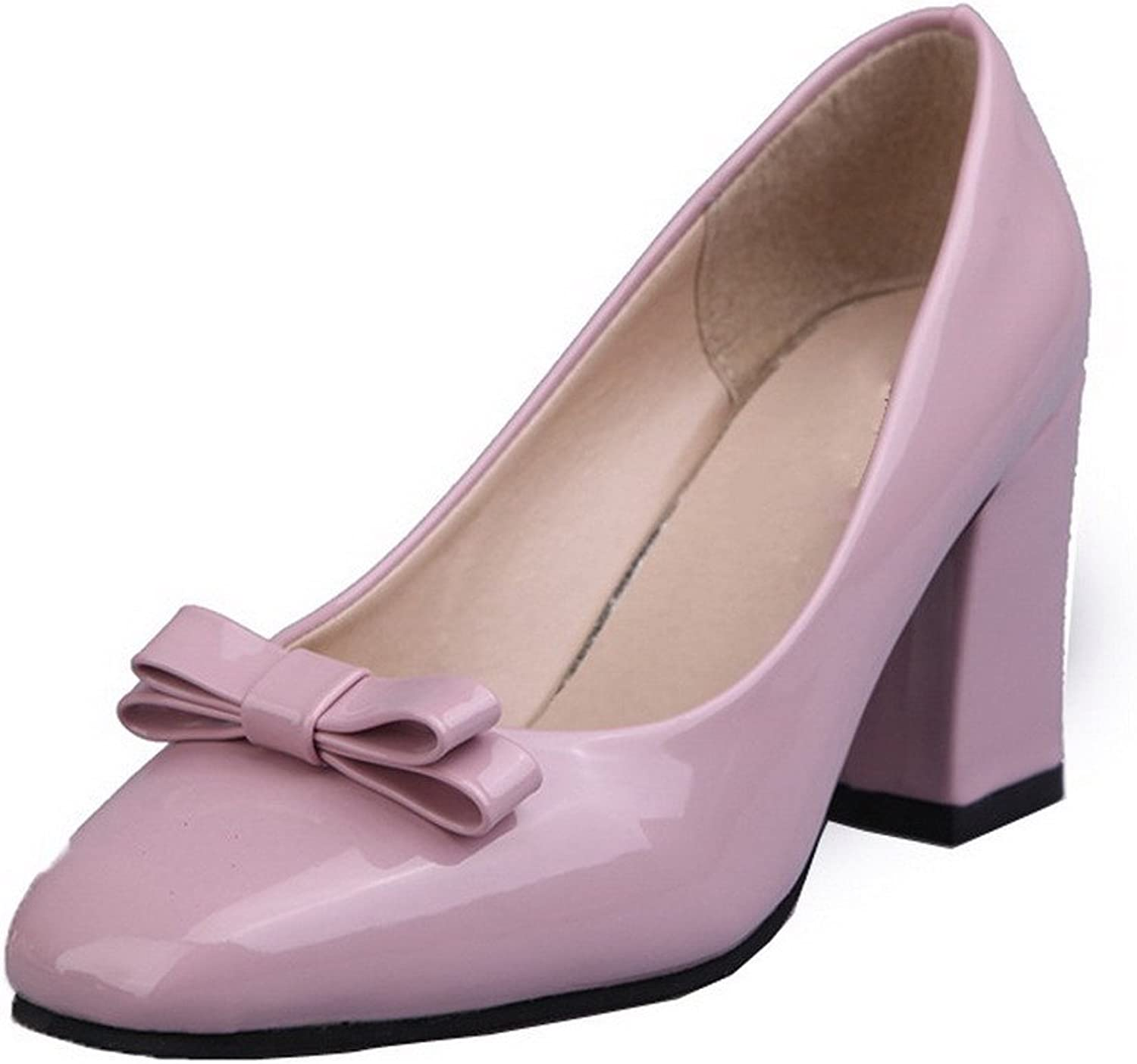 WeenFashion Women's Closed-Toe High-Heels PU Solid Pull-On Pumps-shoes, Pink, 35