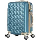 BASILO-012 機内持込 キャリーバック スーツケース キャリーケース 人気 かわいい Sサイズ 1~4日用 29L TSA キルト風 (アイスランドブルー, S)