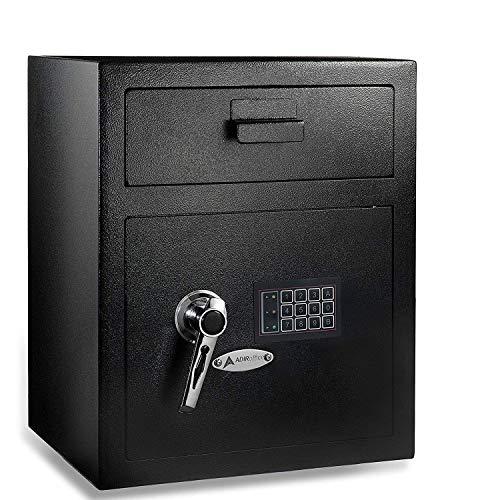 AdirOffice Digital Depository Safe - Front Loading - Digital Keypad Lock - Lockout Mode (Black)