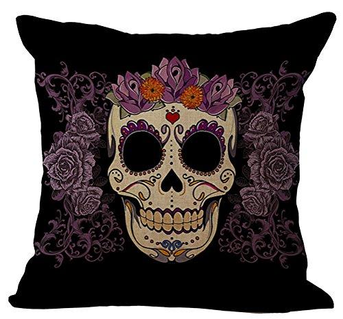 ChezMax Indian Skull Throw Pillow Cover Sham Slipover Cotton Linen Pillowcase Square Sham Square for Unisex Adults Women Men Bedroom