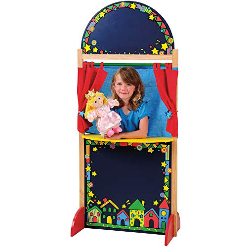 Constructive Playthings Kid-Sized Hardwood Puppet Theater with Chalkboard