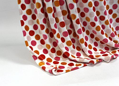 Feinste Mikrofaserdecke Kuscheldecke Tagesdecke, extra dick mit Silk/Cashmere Touch, ca. 150 x 200 cm, weiss mit roten Punkten