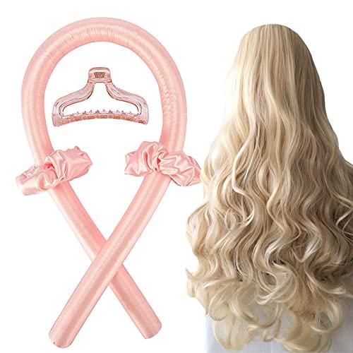 Heatless Lockenwickler Stirnband für langes Haar, Lockenstab Faule Natürliche Weiche Wellenformer Über Nacht schlafen Set ohne Hitze Haarstyling-Werkzeuge für langes mittleres Haar-Rosa