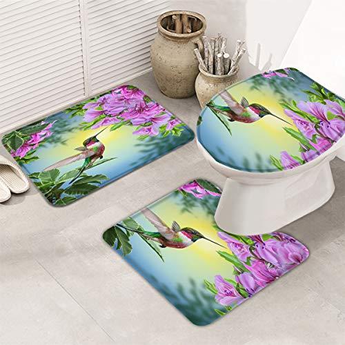 Bath Rugs Set 3 Piece, Hummingbird and the Flowers Washable Memory Foam Non-Slip Contour Mat Toilet Lid Cover Bath Mat Sets for Bathroom Decor, 20' x 32' + 16' x 18' + 16' x 20' Large Size