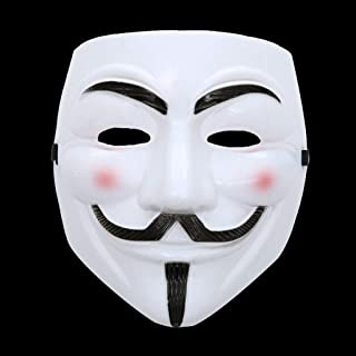QYLOZ Smile Man V Shape Mask Halloween Mask Yellow Full Face Plastic Mask (Color : White)