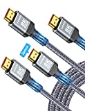 8K HDMI 2.1 Cable 2-Pack 6.6FT, Highwings Slim Ultra High Speed HDMI Braided Cord-48Gbps,4K@120Hz 8K@60Hz, HDCP 2.2&2.3, Dynamic HDR,eARC,DTS:X,RTX 3090,Dolby Compatible with Roku TV/HDTV/PS5/Blu-ray