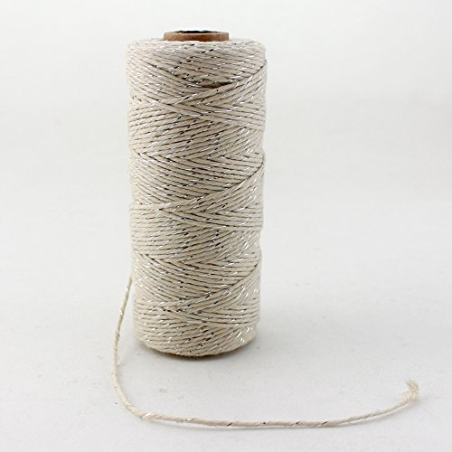 Bobine de ficelle de coton, 100 m par Ipalmay - Pour l'art, les travaux manuels et le jardinage, 3 brins, multicolore Taille unique Silver&White