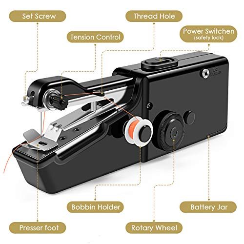 Handheld Sewing Machine,Cordless Portable Electric Sewing Machine, Quick Handy Stitch for Fabric, Clothing, Kids Cloth