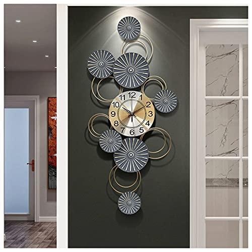 Grandi orologi da parete in metallo Sunburst, orologio da parete con design floreale creativo Orologi da parete rotondi silenziosi Orologio decorativo senza ticchettio per soggiorno e cucina,43X92CM