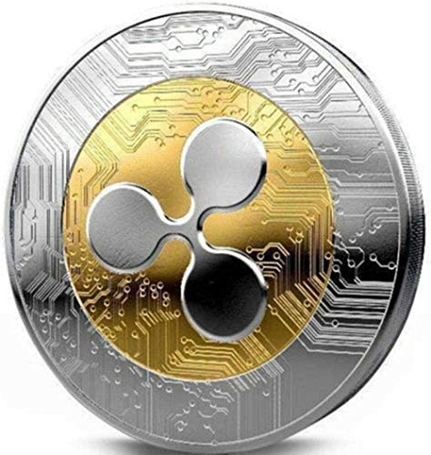 SUNYUANYI TS Trade 1St.Ripple Coin XRP Crypto Commemorative Coin Alloy Gold and Silver Two-Tone Anniversary Coin with Protective Cover