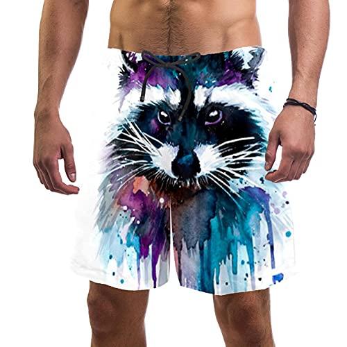 Pantalones Cortos de Playa de Verano para Hombre con Pantalones Cortos de Secado rápido con cordón de Cintura elástica con Bolsillos,Pintura Animal Mapache Colorido