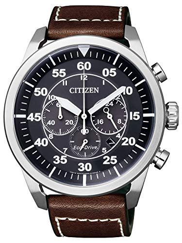 Citizen Herren-Uhren Analog Quarz, eco-Drive 270 Tage Gangreserve One Size Braun/schwarz Leder 32003356