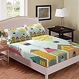 Castle House Sábanas de cama para niños y niñas King Home Lindo juego de ropa de cama moderno pájaro dibujos animados casa ropa de cama de microfibra sábanas bajeras bajeras 3 piezas ropa de cama