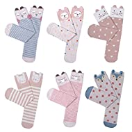 Haley Clothes Girls Knee High Socks Cute Cartoon Animal Boot Socks Cotton Socks (6 Pairs)