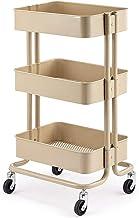 Uitgeholde opbergmand 3 Tier Carbon Utility Cart, Rolling Organizer Cart, Beauty Salon Trolley met Wielen - 45 × 35 × 78cm...