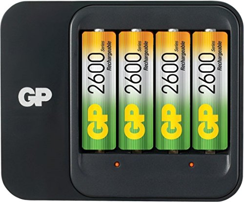 GP Batteries PowerBank PB550 AA,AAA - Chargeurs de Batterie (AA,AAA, Hybrides Nickel-métal (NiMH), Noir, Chargement, Auto/Indoor Battery Charger, 110-240 V)