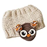 Yixda Baby Kids Wintermütze Mädchen Ohrenwärmer Pferdeschwanz Mütze mit Zopfloch (Beige Eule)