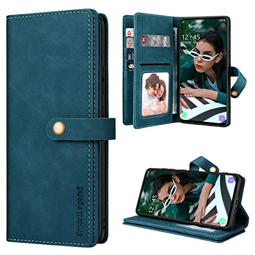 SmartLegend Handyhülle für Samsung Galaxy A51 Hülle Premium Leder PU mit 10 Kartenfach Flip Hülle Magnet Klapphülle Silikon Bumper Schutzhülle für Samsung Galaxy A51 Tasche - Blaugrün