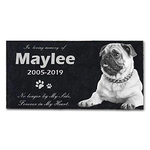 XBS 12 x 6 inchs Personalized Pet Memorial Stones, Black Granite Memorial Garden Stone Engraved with Pet Photo, Gifts for Someone Who Lost a Pet, Dog, Cat (pet-2)