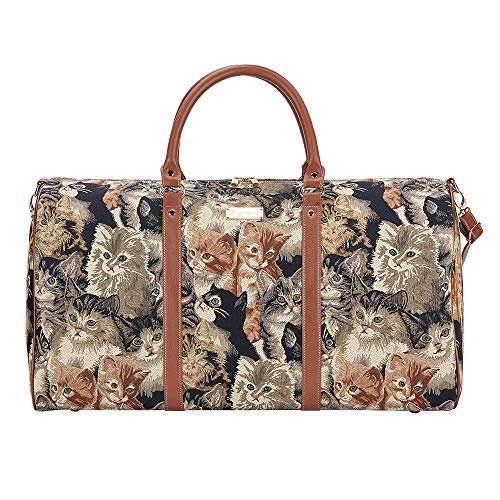 Signare grand fourre-tout bagage weekender en toile tapisserie mode femme Chat