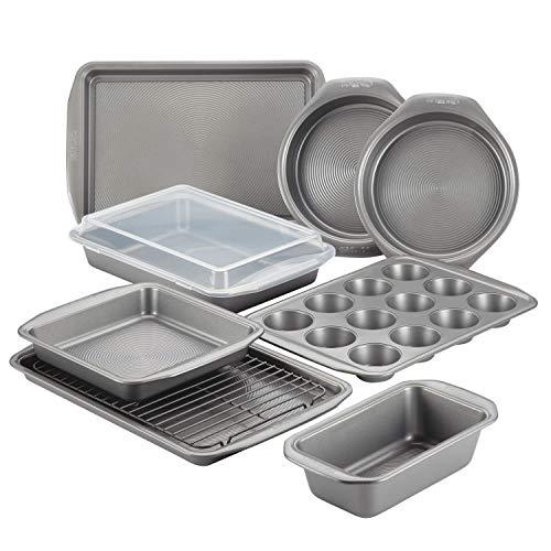Circulon 47485 Antihaft-Backformen-Set mit Antihaft-Brotpfanne, Keksblech, Backblech, Kuchenformen und Muffin/Cupcake-Form – 10-teilig, grau, 47485