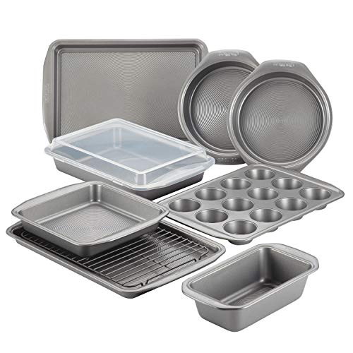 Circulon Nonstick Bakeware Set with Nonstick Bread Pan, Cookie Sheet, Baking Pans, Baking Sheet, Cake Pans and Muffin/Cupcake Pan - 10 Piece, Gray,47485
