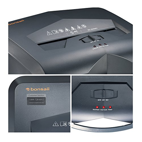 Bonsaii EverShred C149-C 18-Sheet Heavy Duty Cross-Cut Paper/CD/Credit Card Shredder with 6 Gallon Pullout Basket and 4 Casters, 60 Minutes Running Time, Black