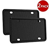 2pack silicone license plate frame universal american canada license plate holder rust-proof &