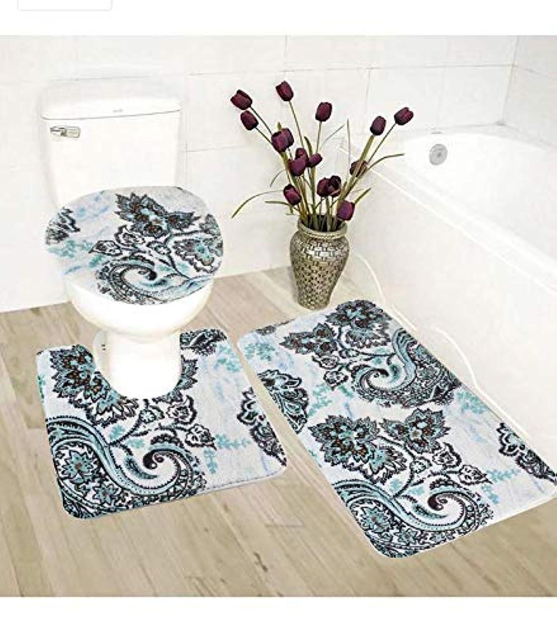 3pc Bath Rug Set Printed Soft Anti-Slip Bathroom Accessories Rug Decor New (B1044)