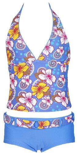 Olibia Mar moderne meisjestankini met Panty-Short, lichtblauw met bloemenpatroon - Oeko-Tex® Standard 100