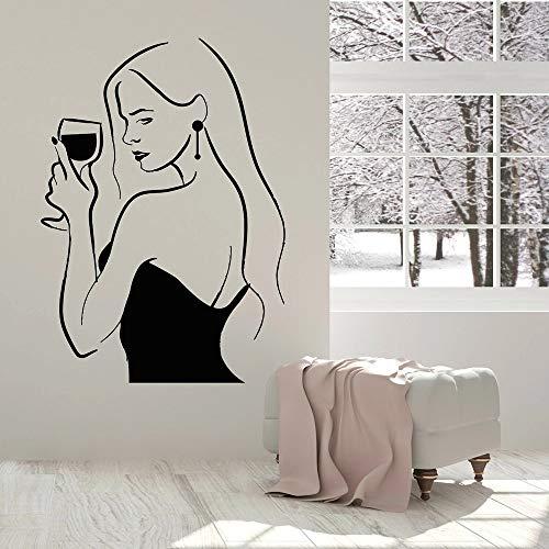 WERWN Arte Creativo de Moda Botella de Vino Pared de Vinilo Mujeres Bebiendo Mujer Copa de Vino Ventana Arte casero